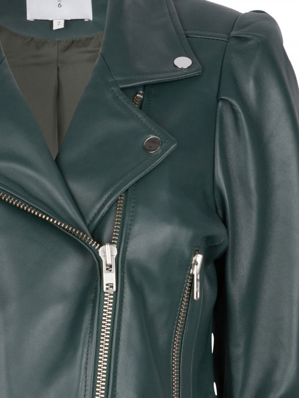 Jae Leather Jacket oil green-4