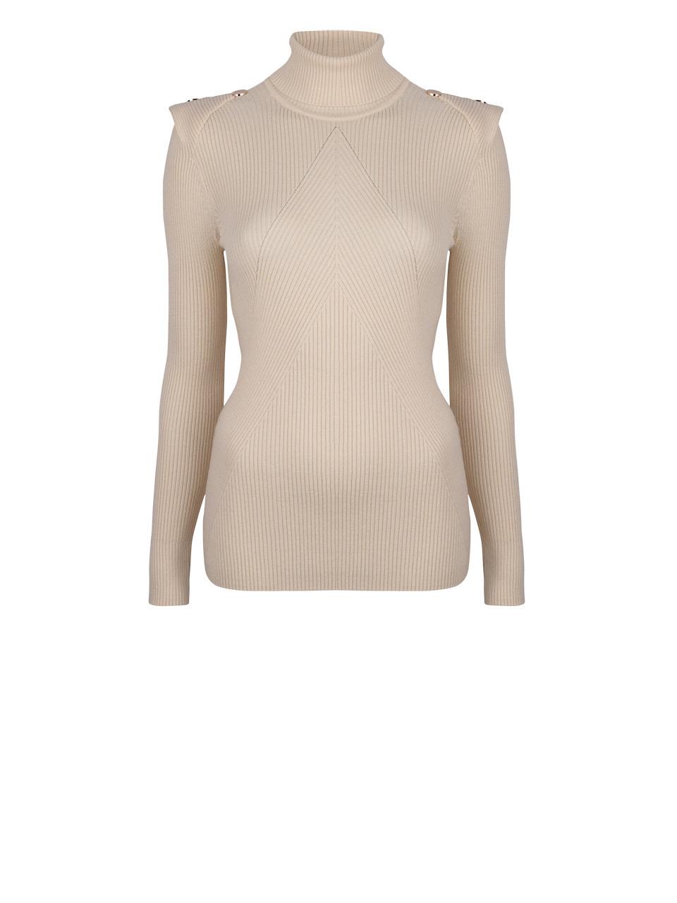 Celia Detail Button sweater Bone-1
