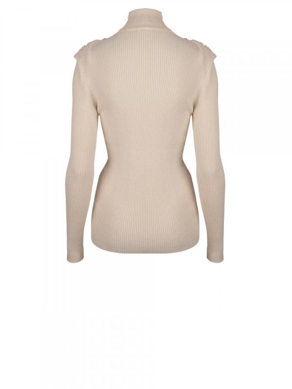 Celia Detail Button sweater Bone-3