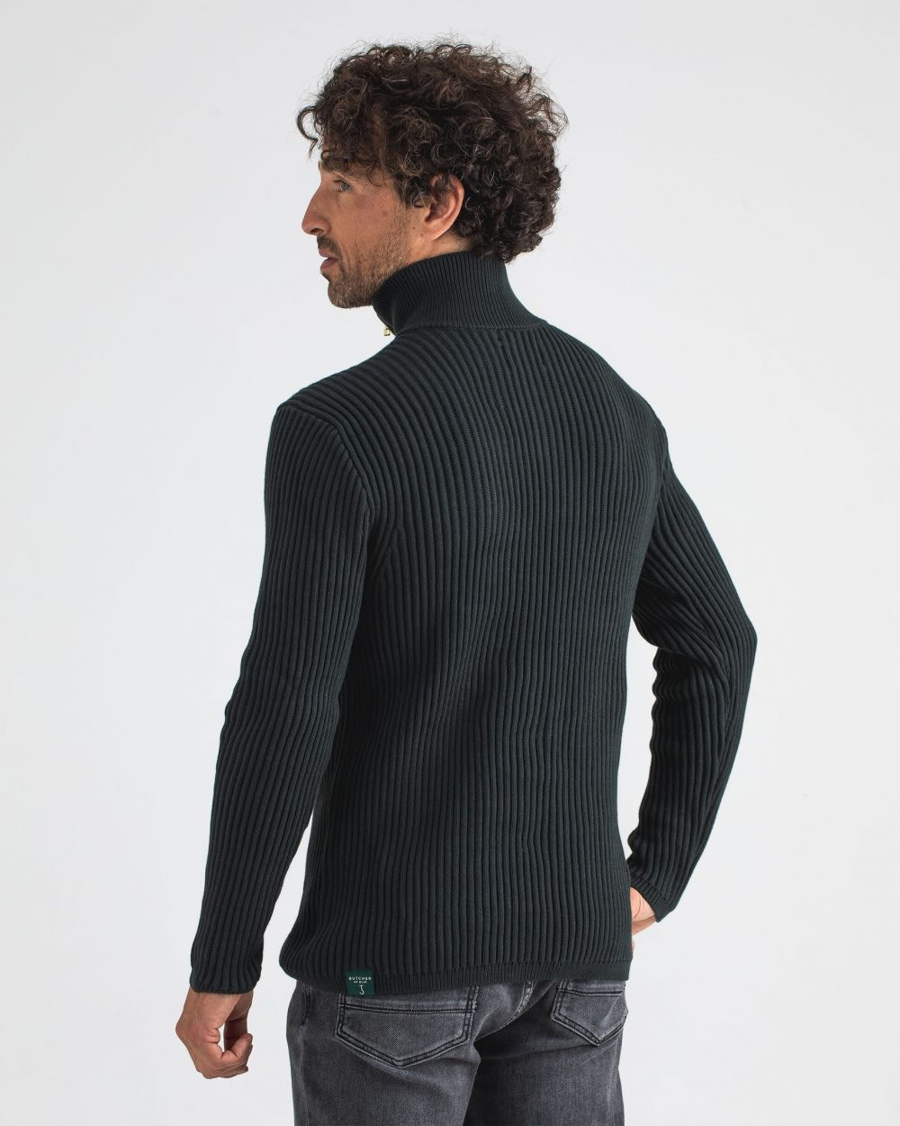 Thin half zip Conda green-2