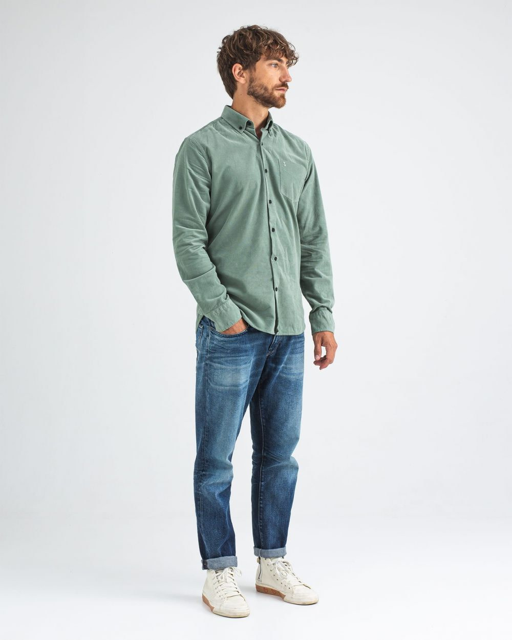 Robbins babycord shirt deplhi green-4