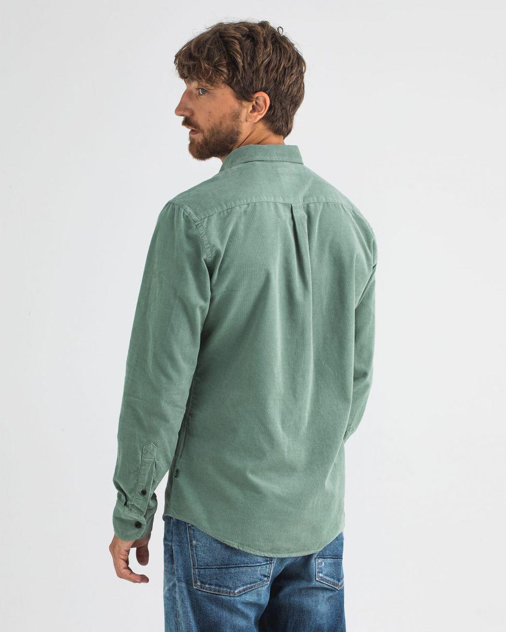 Robbins babycord shirt deplhi green-5