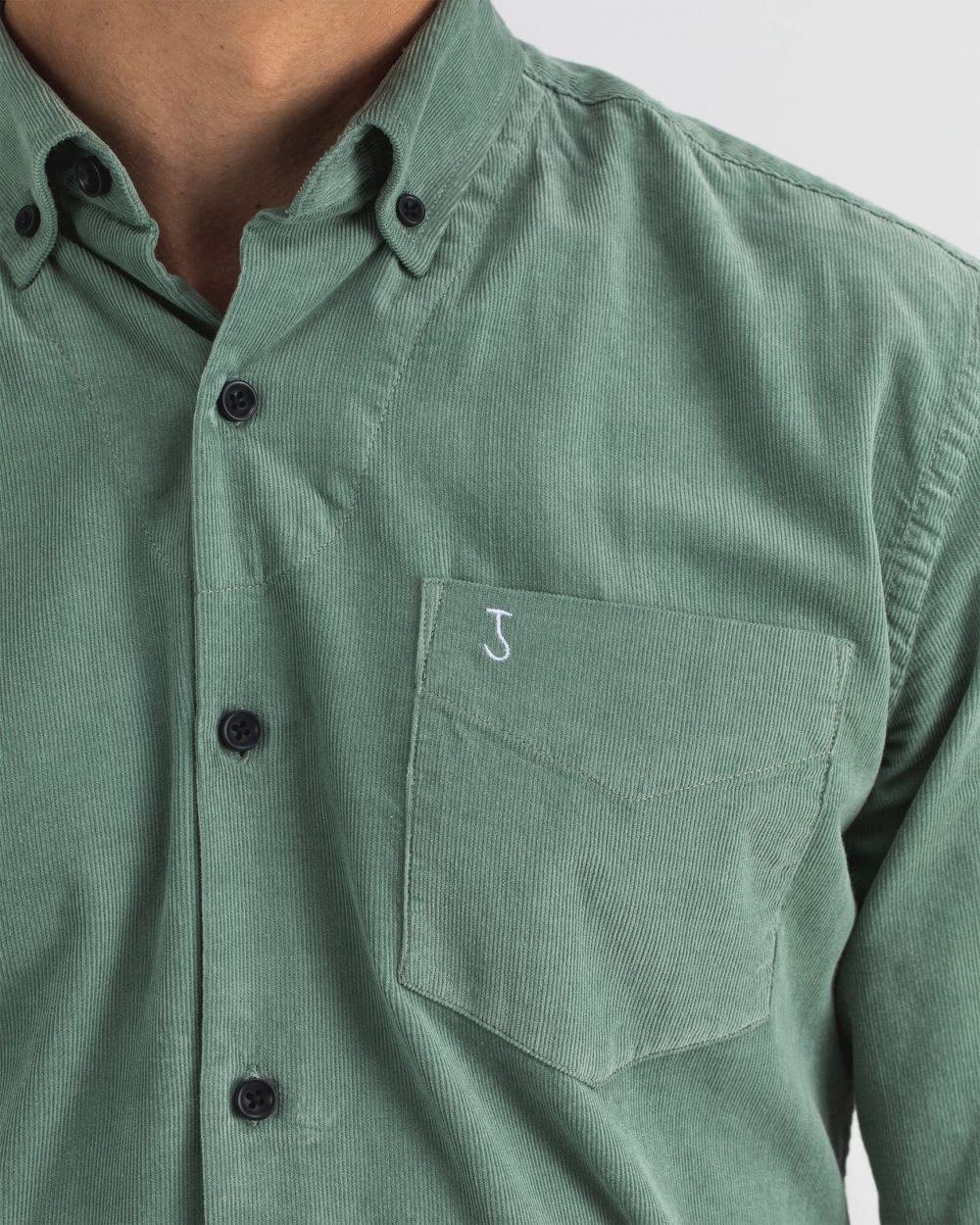 Robbins babycord shirt deplhi green-1