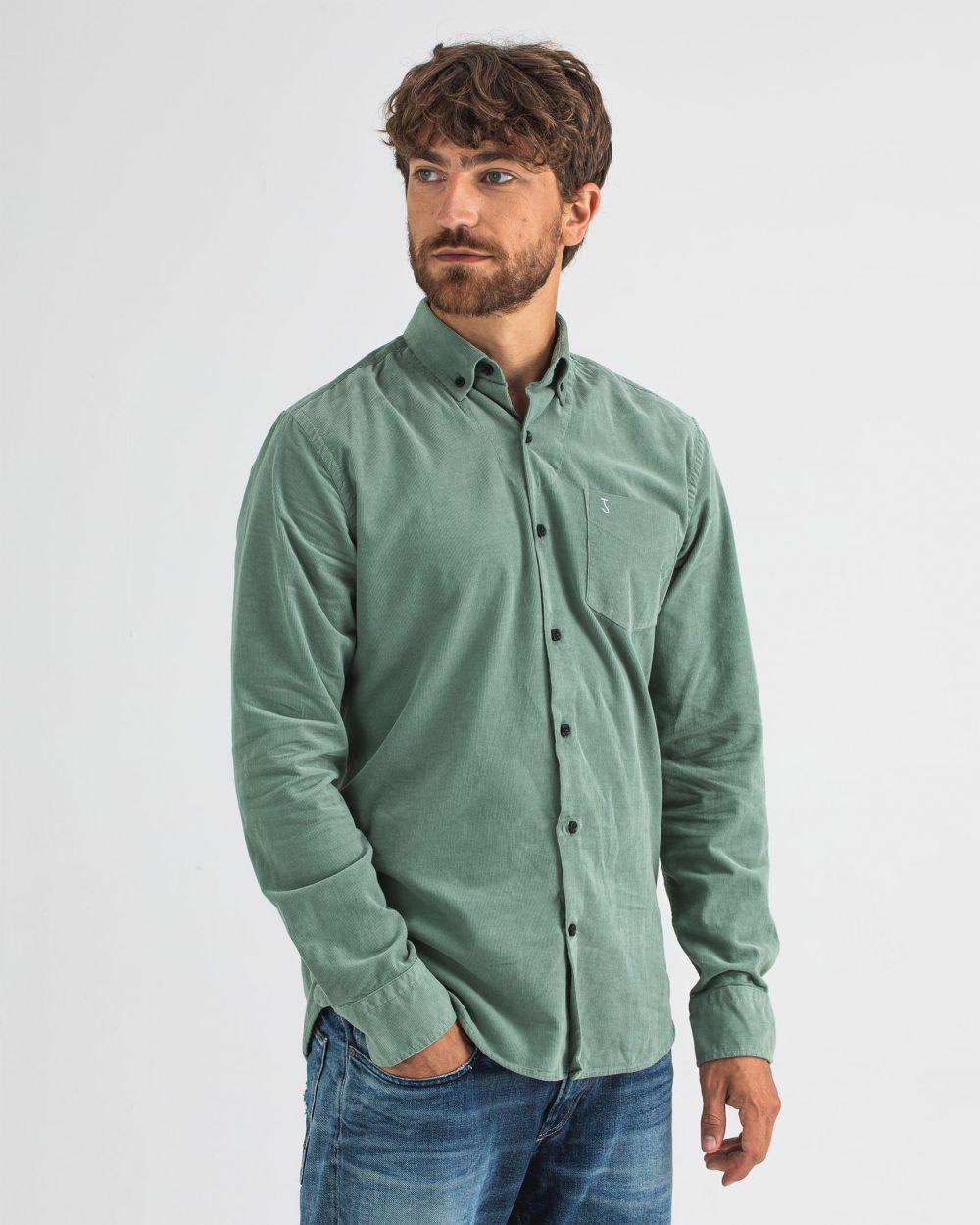 Robbins babycord shirt deplhi green-2