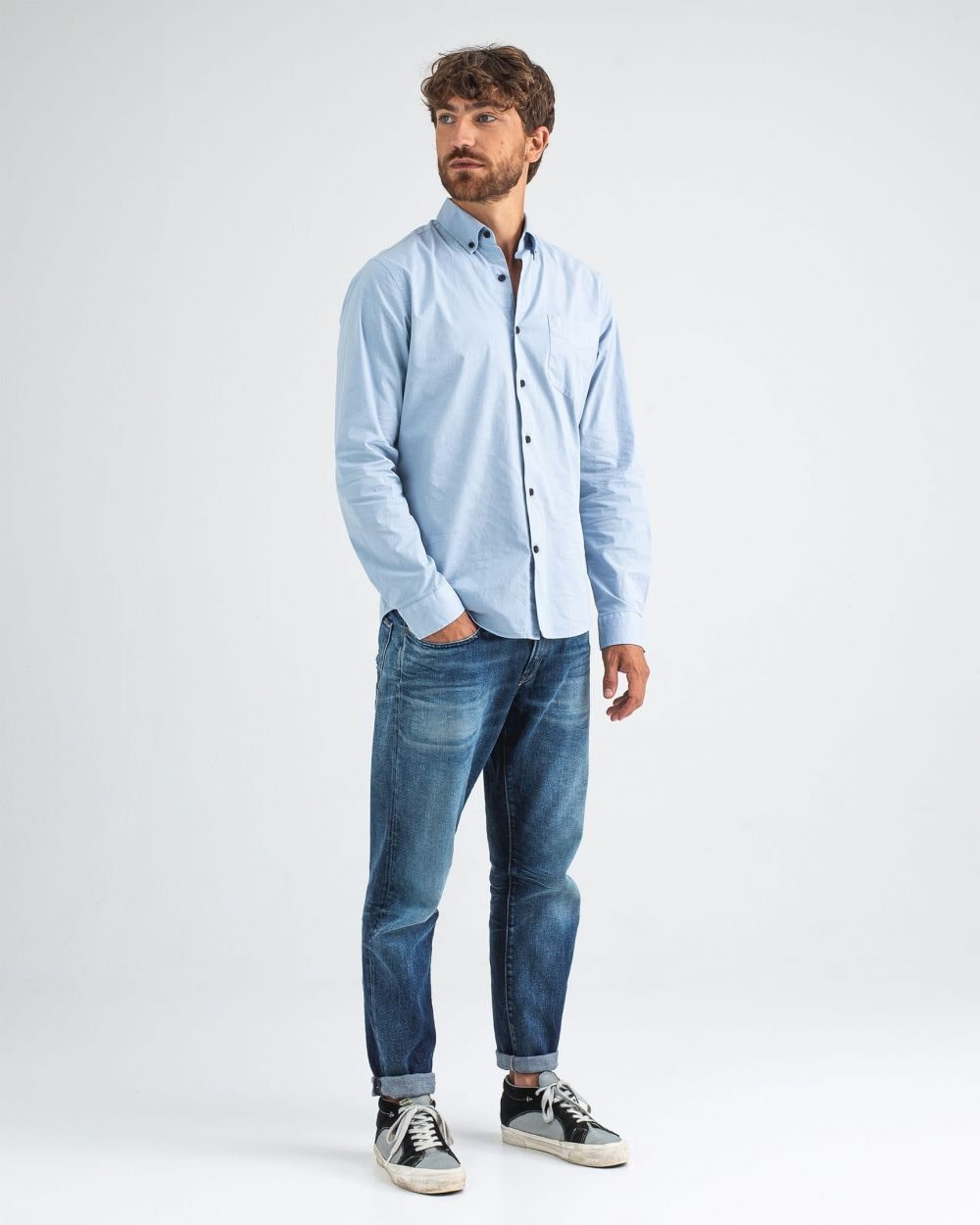 Robbins poplin shirt meissen blue-4