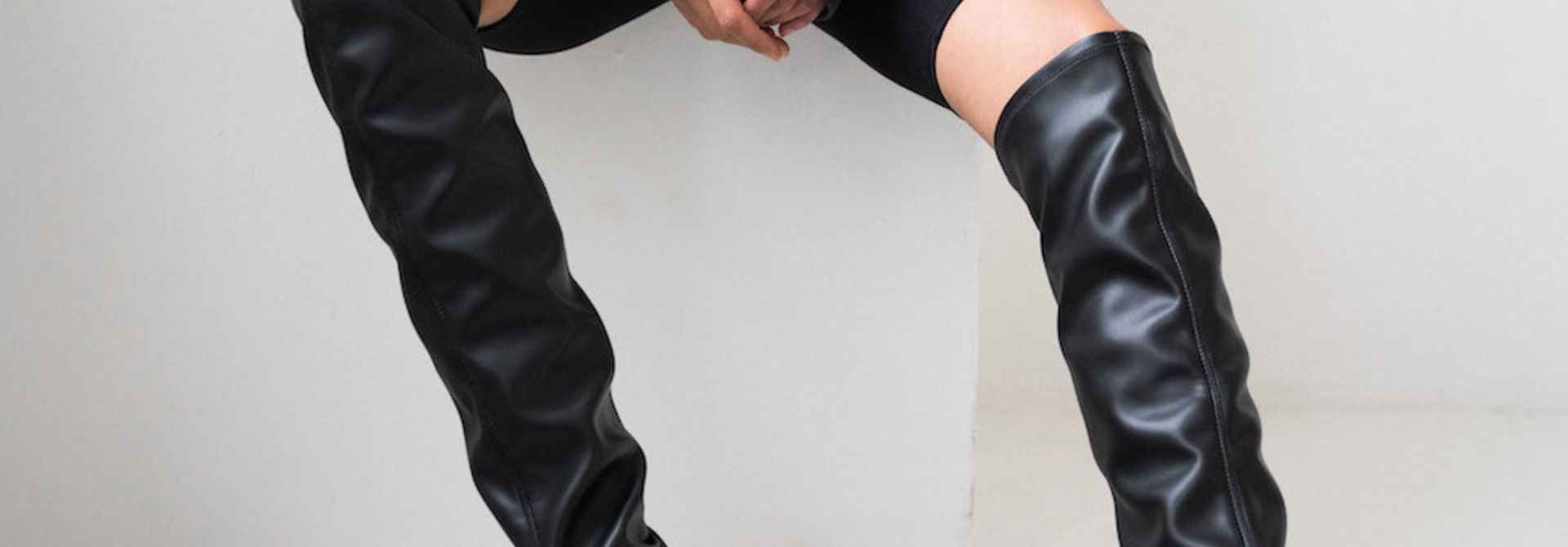 CPH544  high boot stretch Black