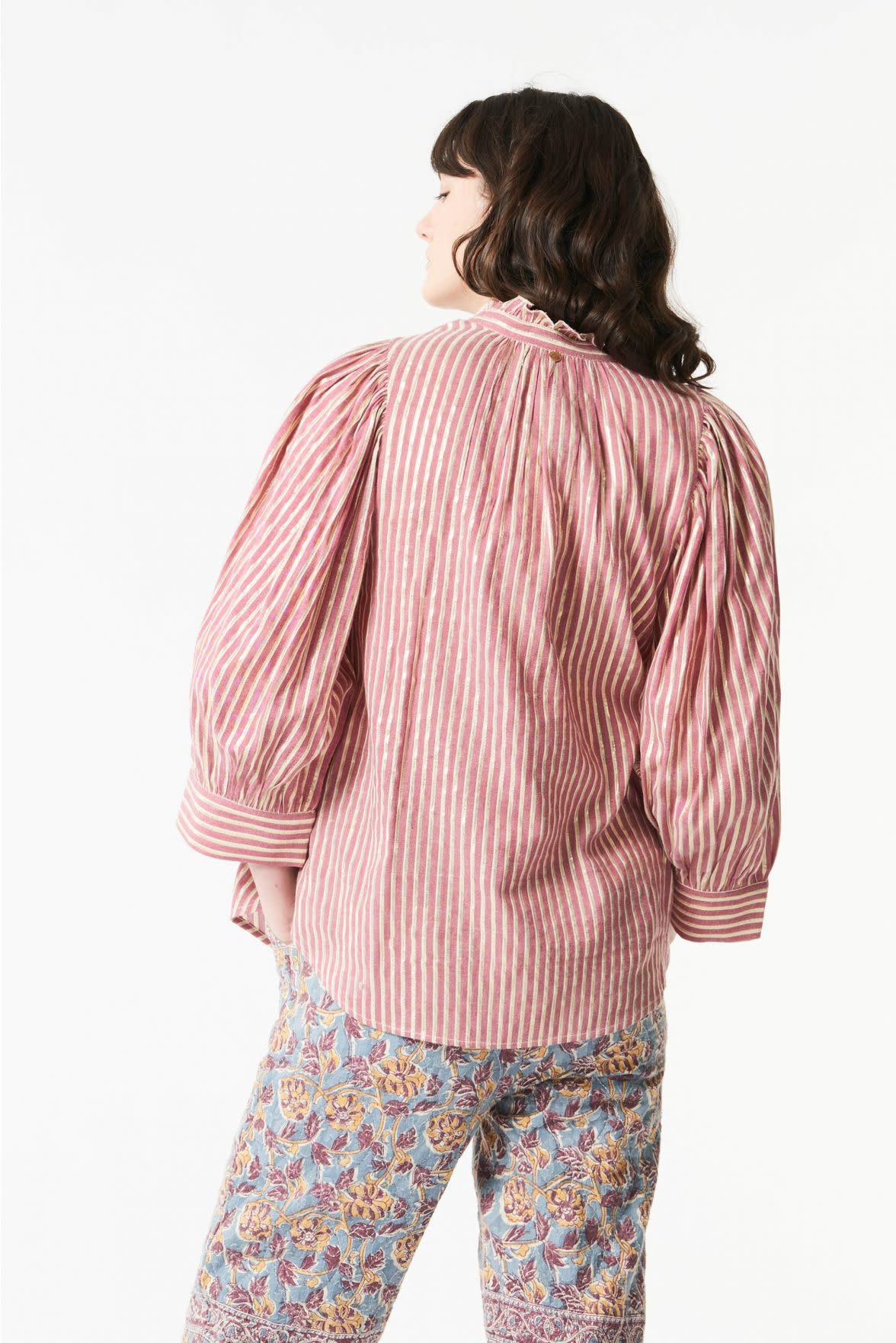 Meela stripes blouse red-2