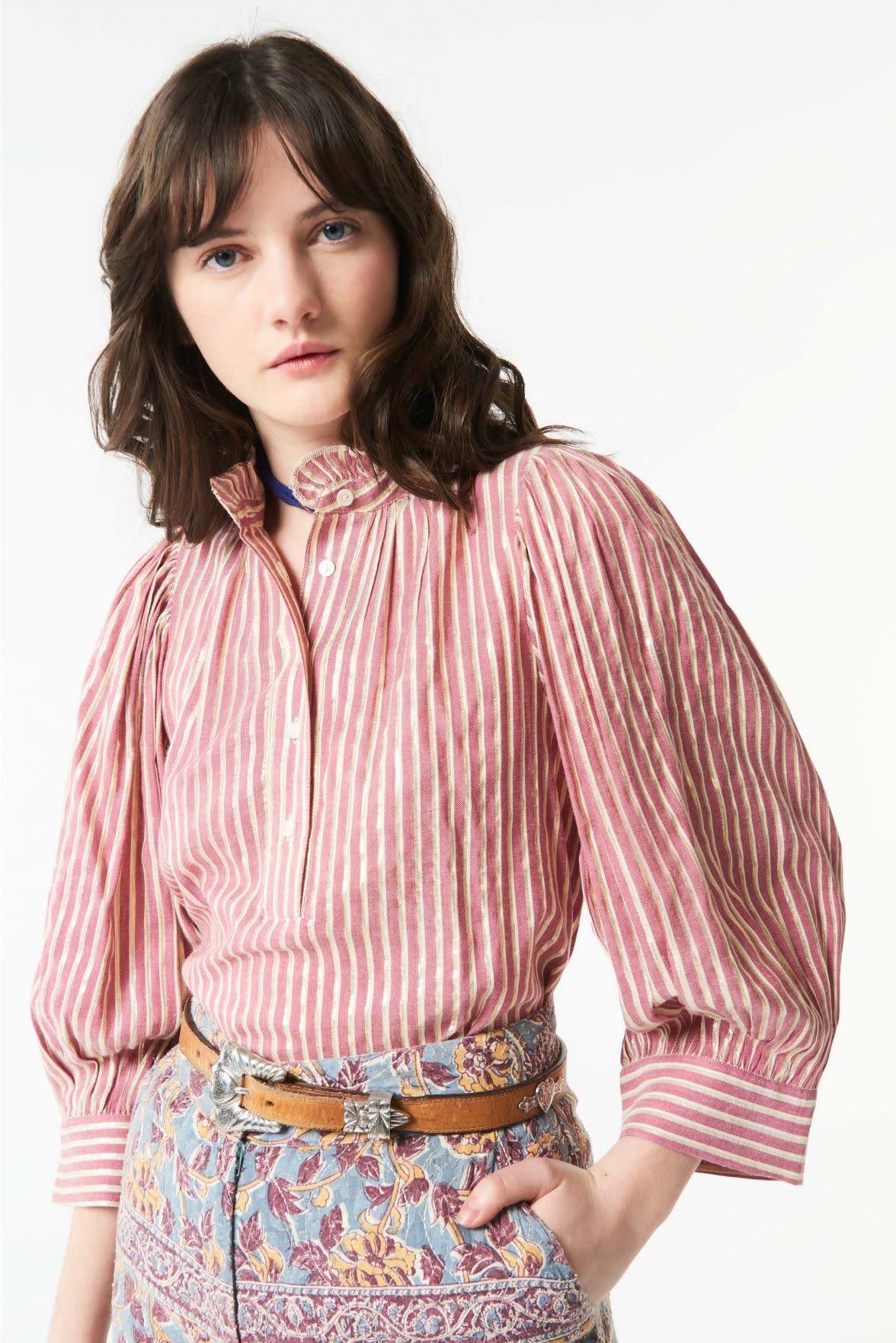 Meela stripes blouse red-1