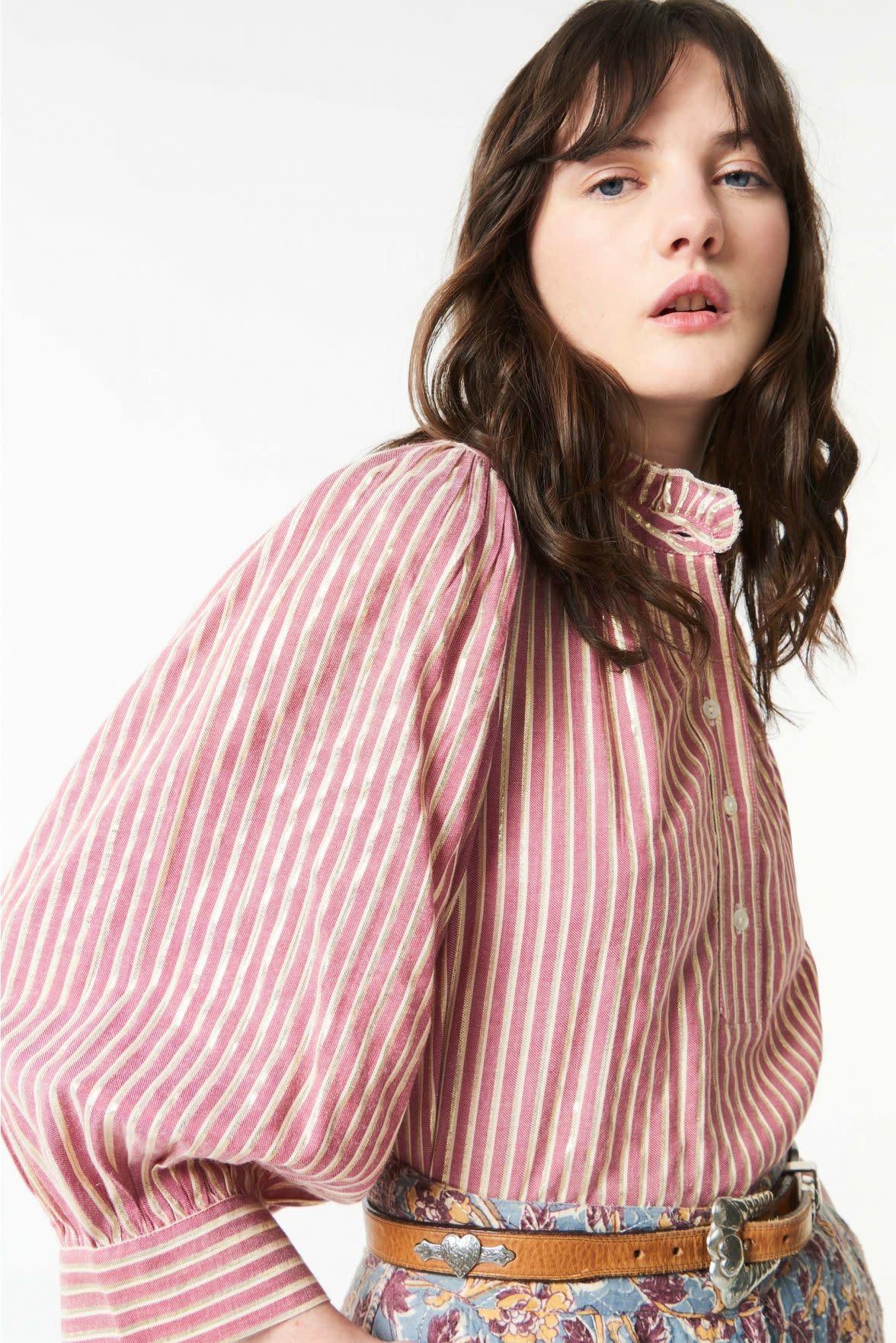 Meela stripes blouse red-3