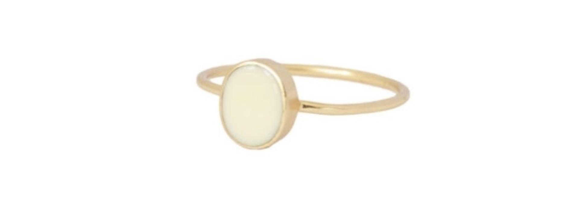 petite oval creme gold