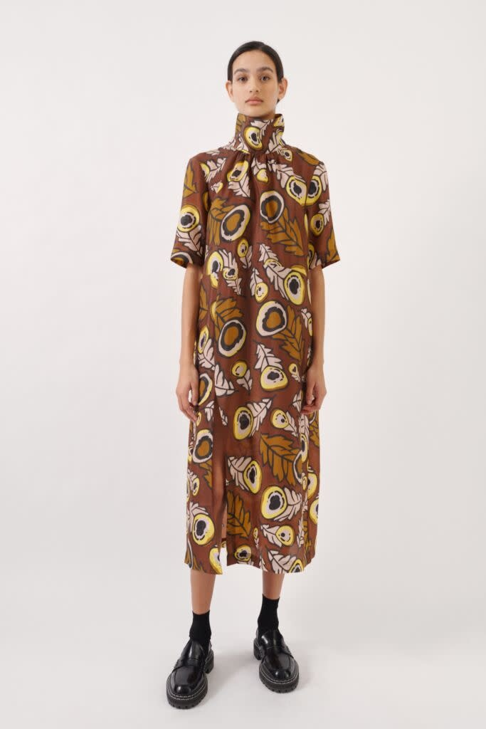Angie Dress autumn leaves brown-1