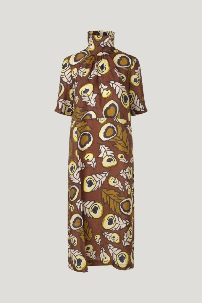 Angie Dress autumn leaves brown-2
