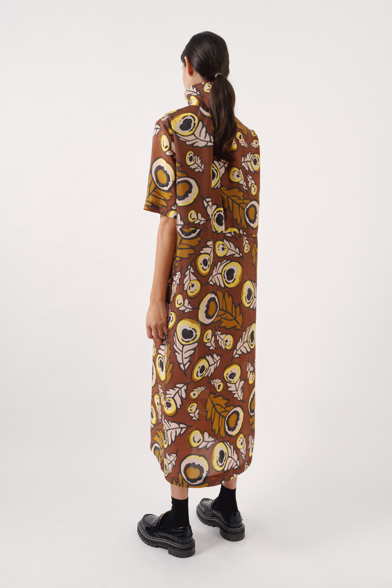 Angie Dress autumn leaves brown-4