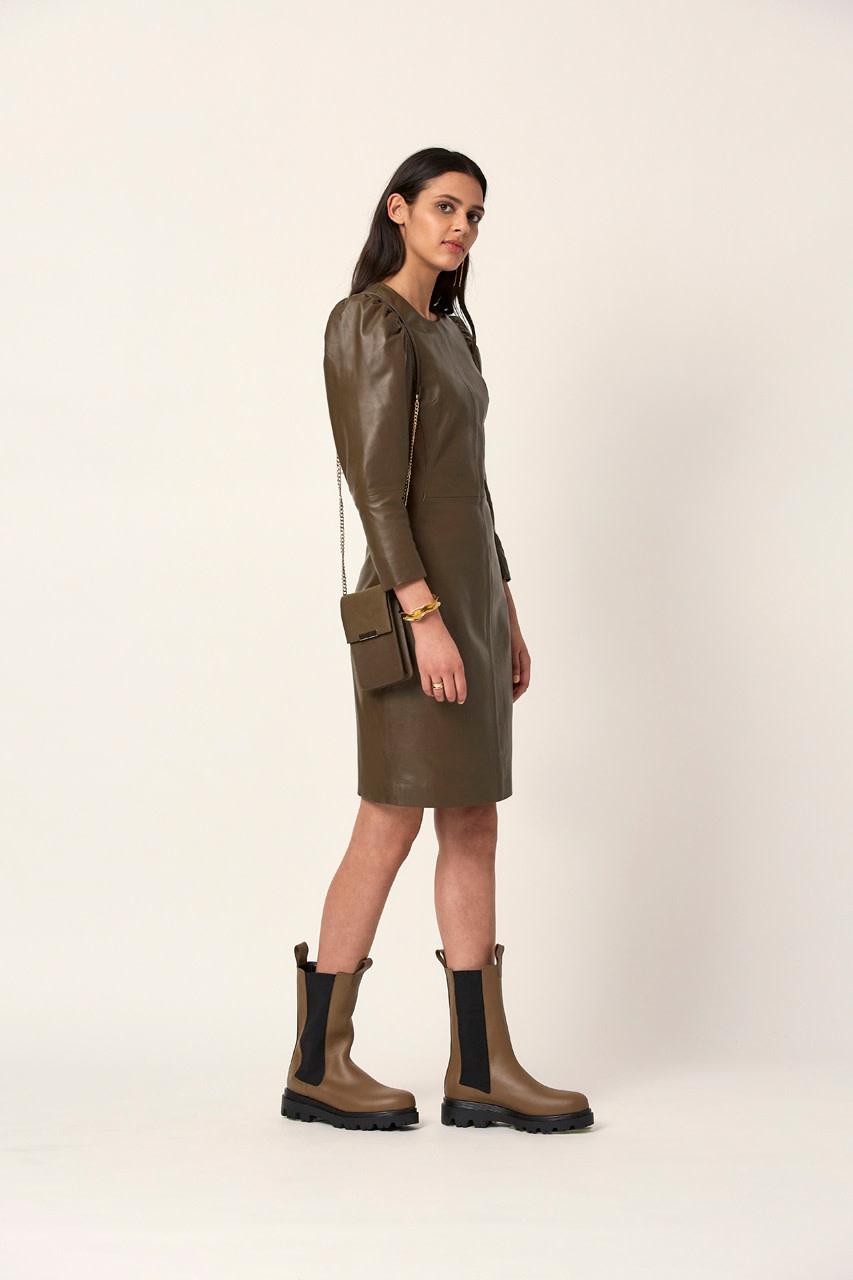 doudou leather dress smokey olive-2