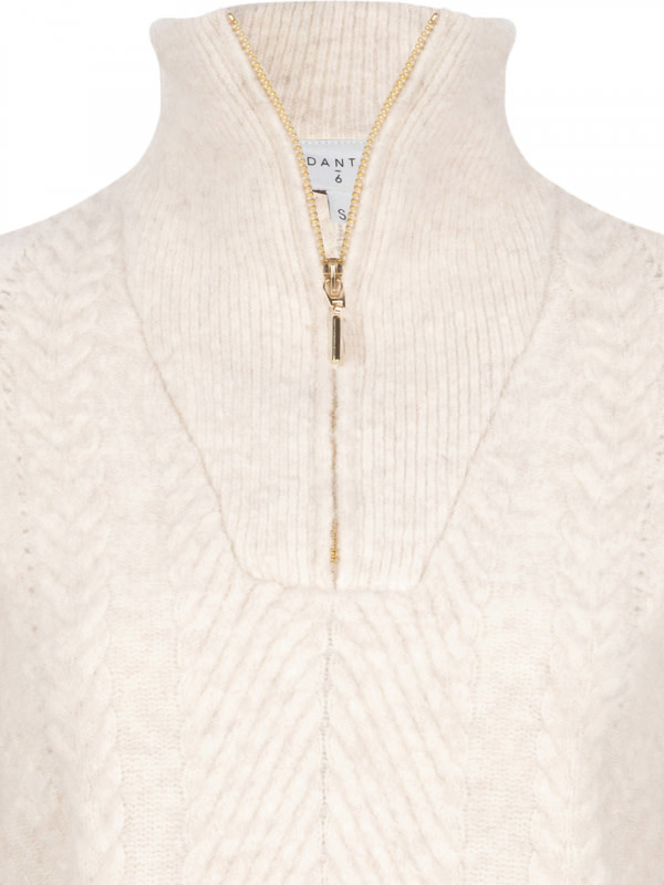 Yina zip cable sweater bone-3