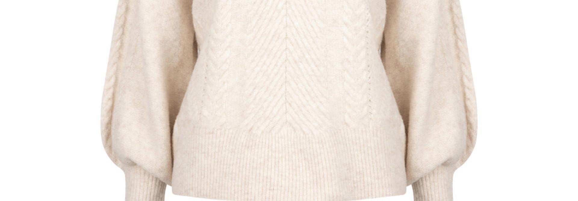 Yina zip cable sweater bone
