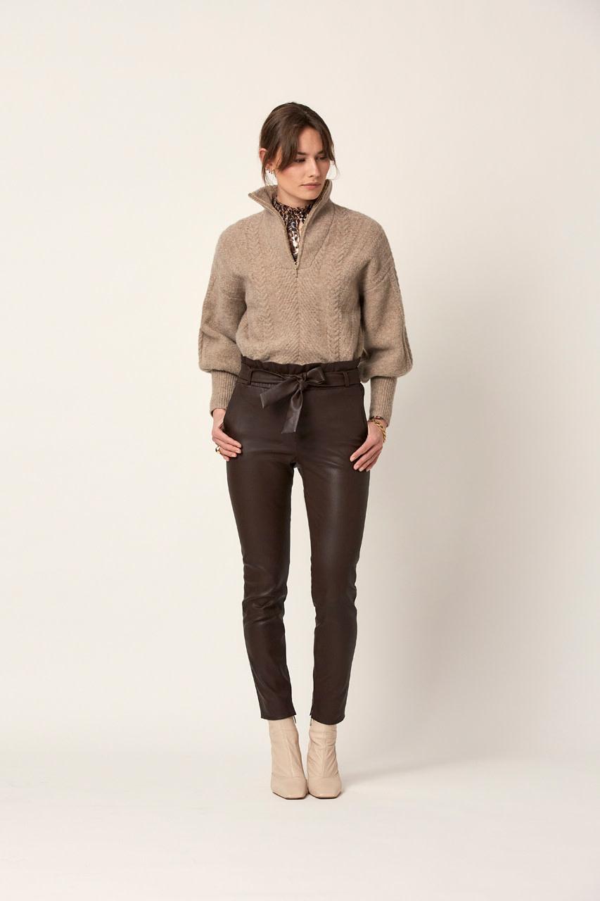 Yina zip cable sweater fungi-2