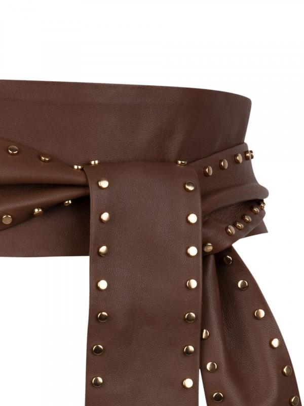 New Markala leather belt wood brown-2