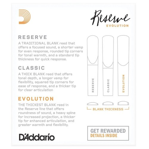 D'addario D'addario Reserve Evolution Bb Clarinet Reeds (Box of 10)