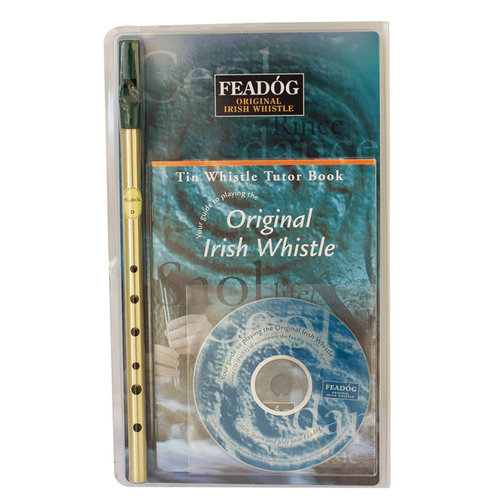 Feadog Feadog Irish Whistle D Brass Triple Pack Tutor Book + CD