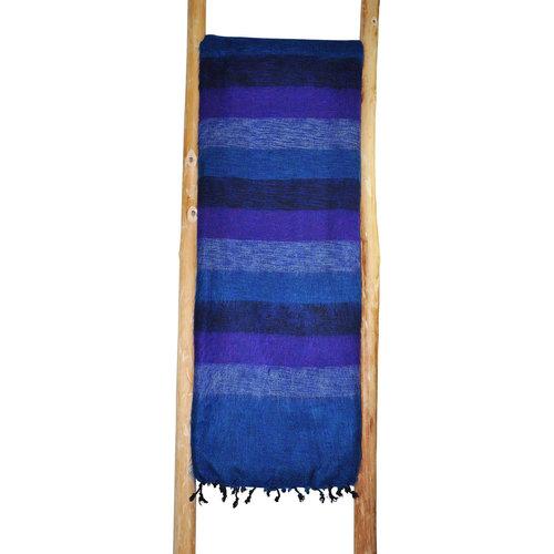 Couverture bleu jeans rayé  | Fair Trade | Couverture artisanale | belle couleur