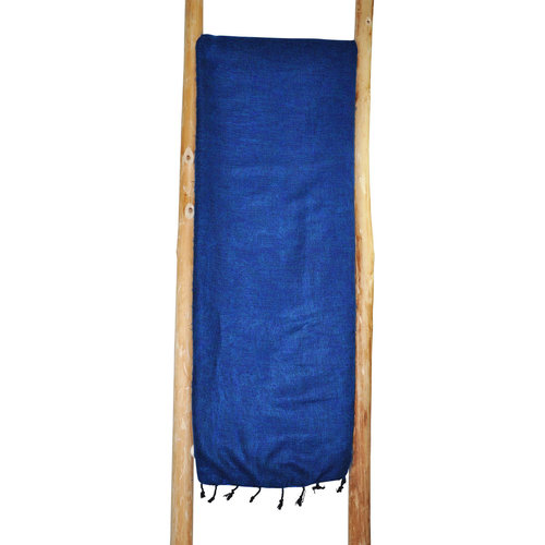 Couverture bleu jeans   Fait main au Népal Idéal pour votre canapé, ne pique pas