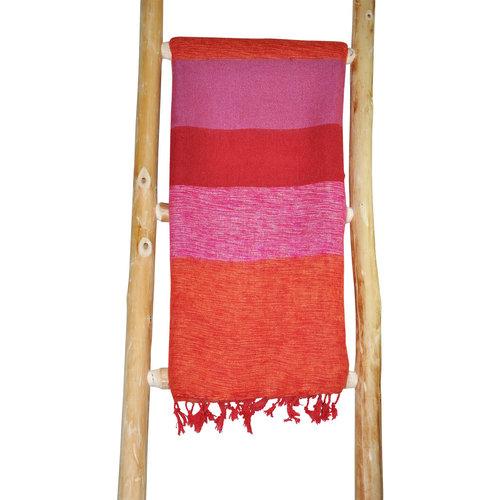 Népal écharpe rose orange rayé | Laineux et doux | Grande combinaison de couleurs