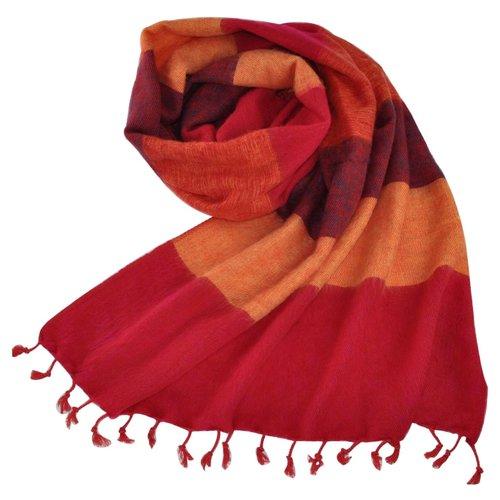 Népal Foulard rouge orange rayé   Fait main au Népal   Chaud et doux   Ne pique pas