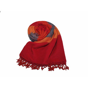 Népal Foulard Bleu Orange Rouge rayé #933