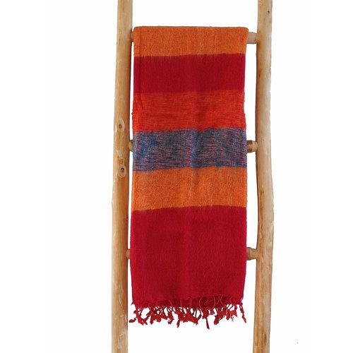 Népal Foulard Bleu Orange Rouge rayé | Fair Trade |  Doux et laineux  - Copy