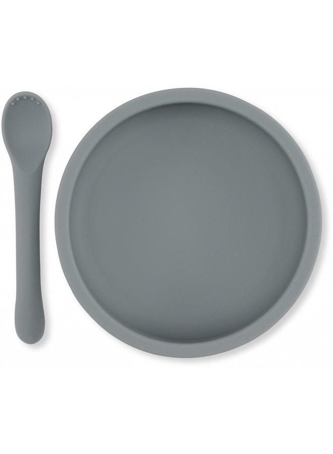Eetsetje met zuignap - Lichtblauw