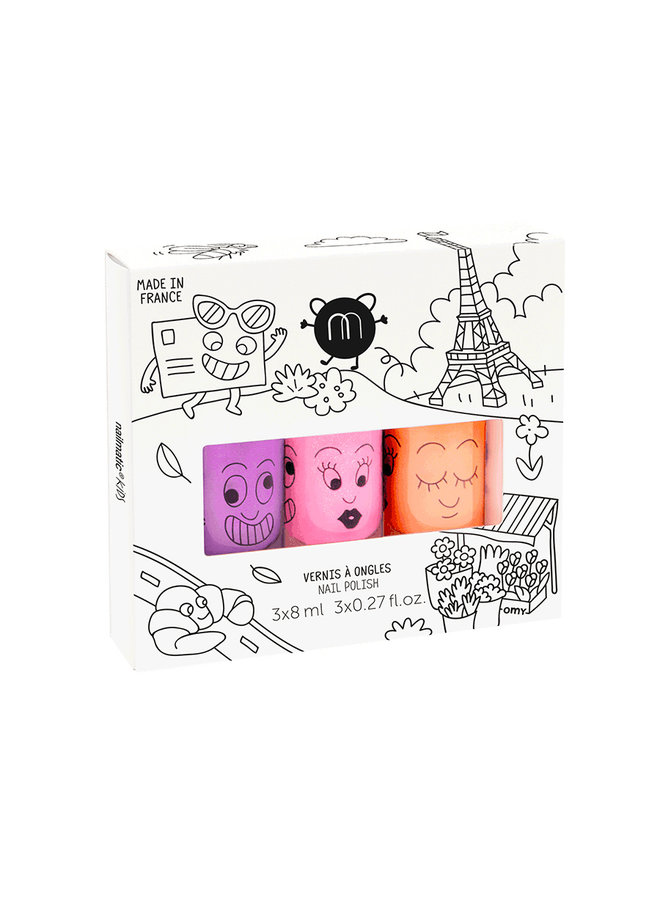 Kindernagellak - 3 neon kleuren - Paris