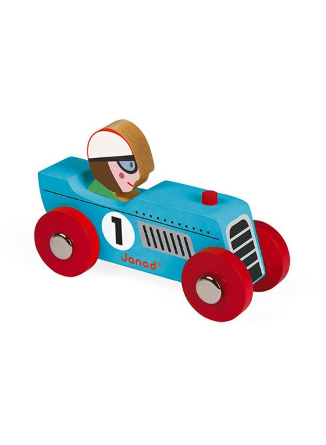 Raceauto Retro - Blauw hout