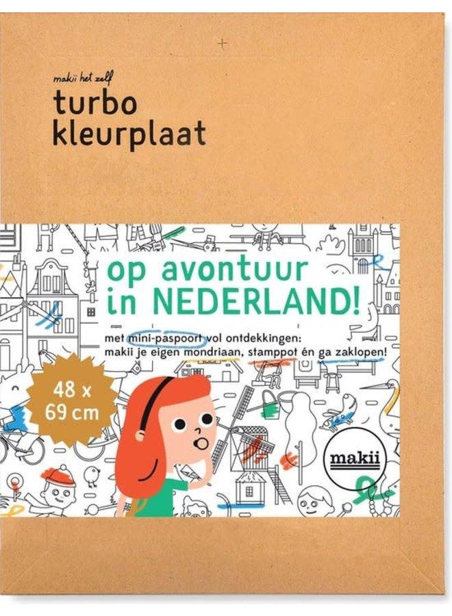 Kleurplaat turbo - Op avontuur in Nederland