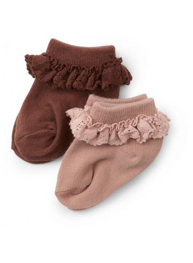2 pack frill socks - Mocca, rose blush
