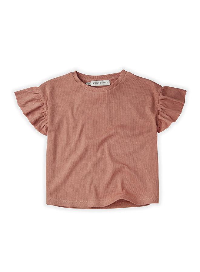 T-Shirt Rib Ruffle Rose