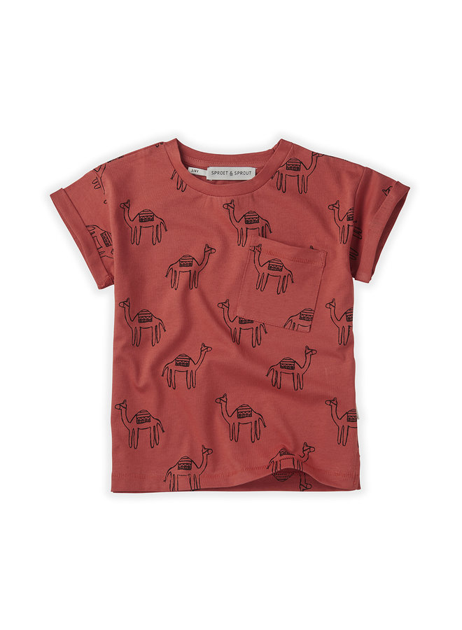 T-shirt Print Camel Cherry Red