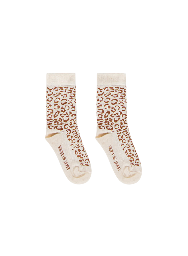 Ankle socks - Cream & toffee leopard