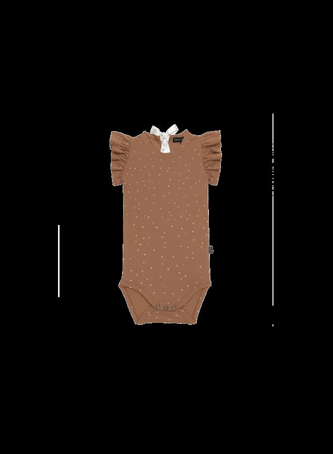 Ruffled bodysuit - Burnt ginger dots
