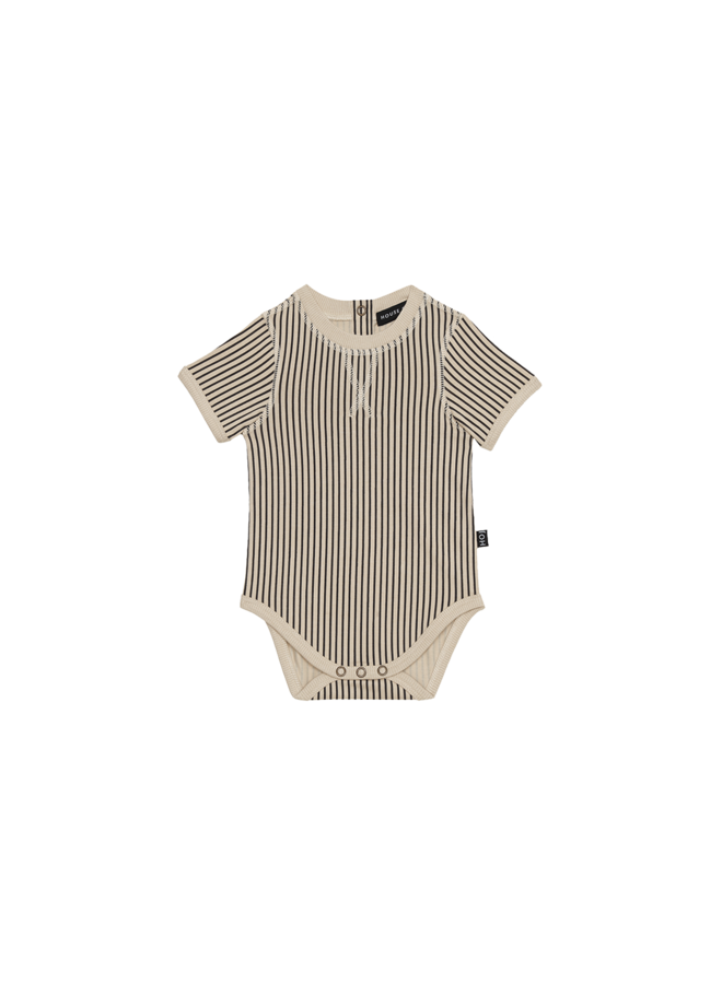 Crewneck bodysuit - Charcoal sheer stripes