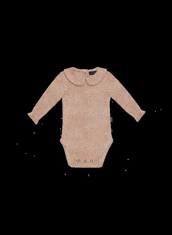 Rib collar bodysuit - Rose dawn little leopard