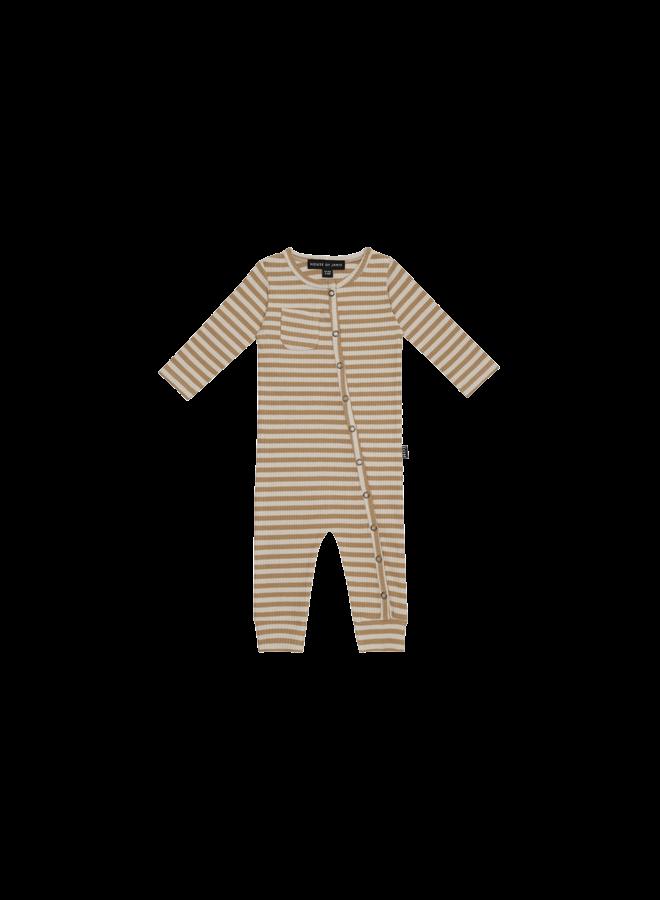 Rib button jumpsuit - Apple cider stripes