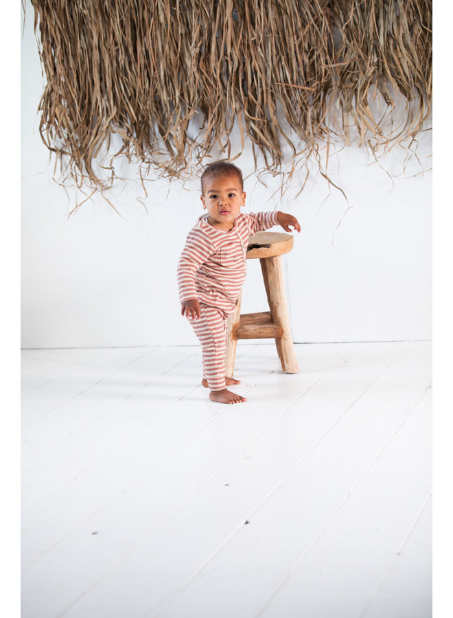 Rib button jumpsuit - Baked clay stripes