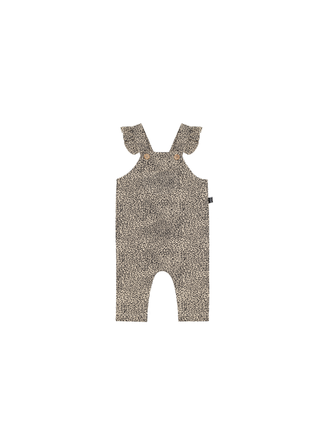 Baby girls dungaree - Charcoal little leopard