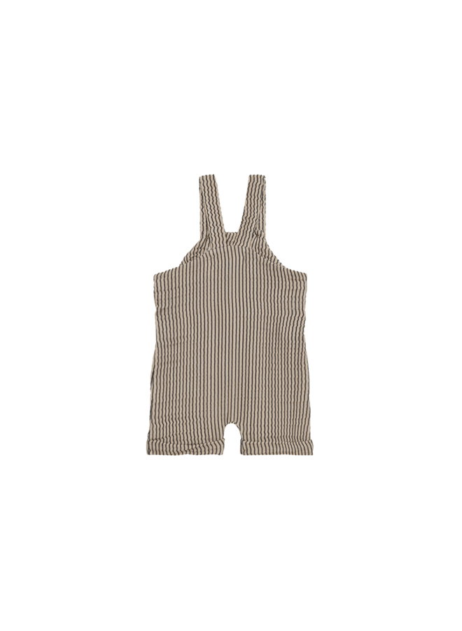 Relaxed Dungaree - Charcoal sheer stripes