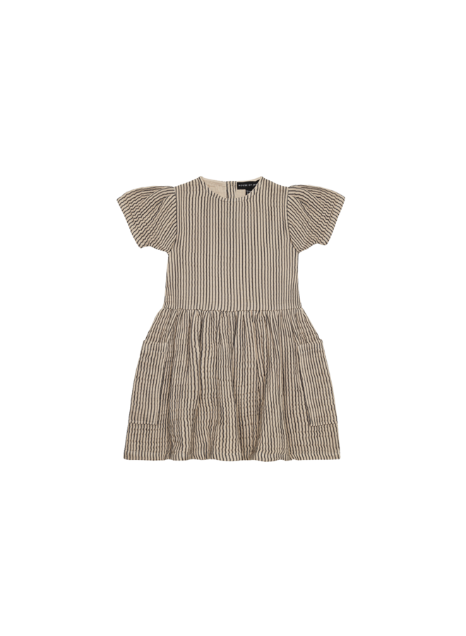Relaxed pocket dress - Charcoal sheer stripes