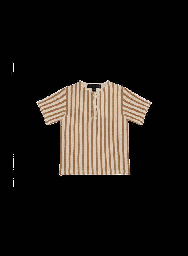 Henley shirt - Vertical apple cider stripes