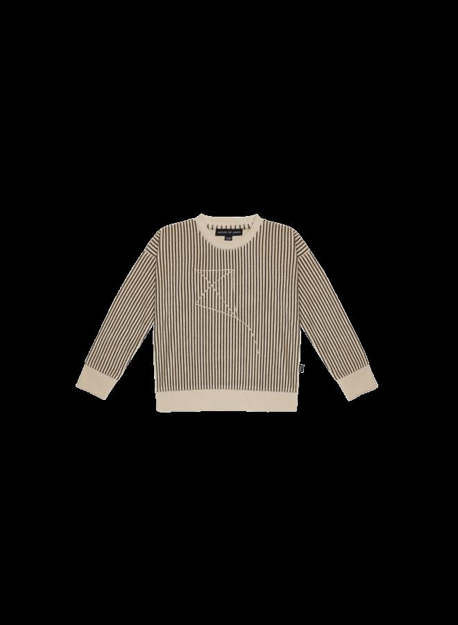 Crewneck sweater - Charcoal sheer stripes