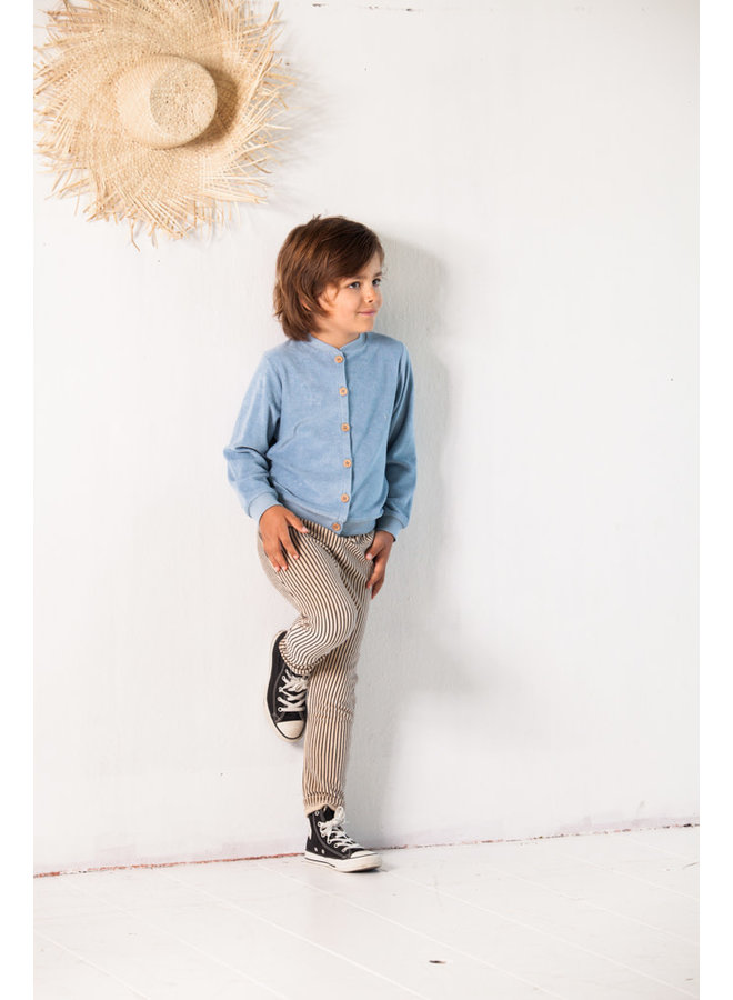 Straight pants - Charcoal sheer stripes