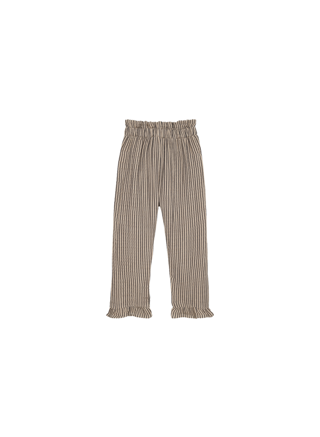 Summer paperbag pants - Charcoal stripes
